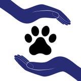 De dierlijke hondpoot in mensenhand, menselijke hulp moedigt vectorillustratie aan Stock Foto