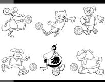 De dierlijke karakters van het voetballersbeeldverhaal Royalty-vrije Stock Afbeeldingen