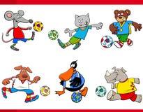 De dierlijke karakters van het voetbalstersbeeldverhaal Royalty-vrije Stock Foto