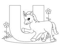 De dierlijke Kleurende pagina van U van het Alfabet Stock Foto's