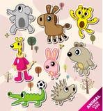 De dierlijke pictogrammen van het beeldverhaal Stock Foto's