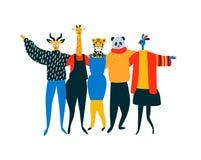 De dierlijke vrienden koesteren samen op geïsoleerde achtergrond royalty-vrije illustratie