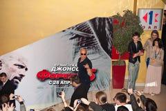De Diesel van Vin van de acteur in Moskou - vergadering met ventilators Stock Afbeeldingen