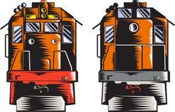 De diesel Voor Achter Retro Houtdruk van de Trein Stock Afbeeldingen