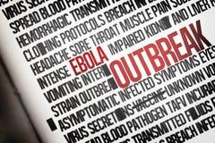 De digitaal geproduceerde cluster van het ebolawoord Stock Foto