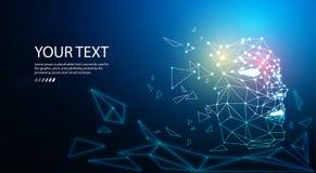 de digitale achtergrond van het de technologieconcept van het deeltjesgezicht voor kunstmatige intelligentie en machine het leren royalty-vrije illustratie