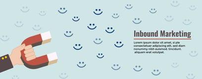 De digitale Binnenkomende Op de markt brengende gelukkige klanten van de Webbanner w en magne royalty-vrije illustratie