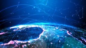 De digitale bol wordt in de vorm van een hologram voorgesteld die een lichteffect uitzenden; verkeersinformatie stock afbeelding