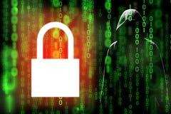 De digitale encryptie van technologiegegevens kan hakker verhinderen of de gegevens lekken in matrijs stock foto