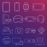 De digitale geïsoleerde reeks van de apparaten witte lijn pictogrammen vector illustratie