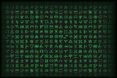 De digitale groene matrijs en computervector van codesymbolen bsckground vector illustratie