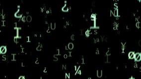 De digitale groene symbolen vallen op een zwarte achtergrond vector illustratie