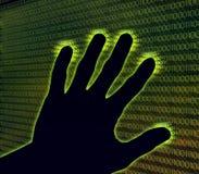 De digitale hand raakt cyberspace stock illustratie