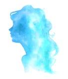 De digitale illustratie van de waterverfvrouw Stock Foto's
