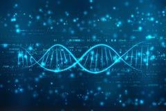 De digitale illustratie van DNA op medische abstracte achtergrond stock foto's