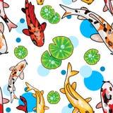 De digitale illustratie van naadloos patroon met cartoony koikarpers en lotusbloem verlaat ander water hoogste mening royalty-vrije stock afbeelding