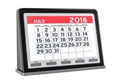 De digitale kalender van juli 2018, het 3D teruggeven vector illustratie