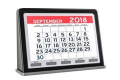 De digitale kalender van september 2018, het 3D teruggeven Stock Afbeeldingen