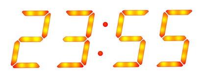 De digitale klok toont vijf minuten aan twaalf Royalty-vrije Stock Foto