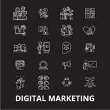 De digitale marketing editable die vector van lijnpictogrammen op zwarte achtergrond wordt geplaatst Digitale marketing witte ove royalty-vrije illustratie