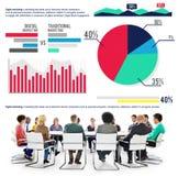 De digitale Marketing Markt van de Analysefinanciën van Grafiekstatistieken Conce Royalty-vrije Stock Foto