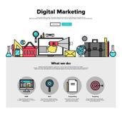 De digitale marketing vlakke grafiek van het lijnweb vector illustratie