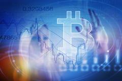 De digitale munt van het Bitcointeken, futuristisch digitaal geld, blockchain technologieconcept Stock Foto's