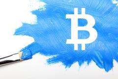 De digitale munt van het Bitcointeken, futuristisch digitaal geld, blockchain technologieconcept Royalty-vrije Stock Afbeeldingen