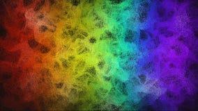 De digitale rook die van de regenboogkleur over zwarte stromen stock videobeelden