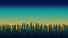 De digitale stad Abstracte futuristische stad, de wolkendienst, high-tech achtergrond royalty-vrije illustratie