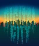 De digitale stad Abstracte futuristische stad, het leven in de virtuele ruimte, de wolkendienst, high-tech achtergrond Stock Afbeelding