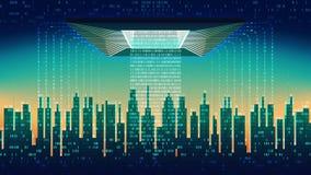 De digitale stad De belangrijkste spaander controleert de stroom van informatie in de abstracte stad, high-tech achtergrond, naad vector illustratie