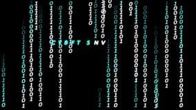De digitale tekst die van matrijsgegevens met Cyber-Veiligheidstekst die beëindigen in de dalende karakters worden geanimeerd stock video