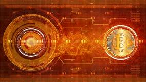 De digitale van de bitcoin digitale munt van matrijsdeeltjes abstracte achtergrond van de de technologiemotie vector illustratie