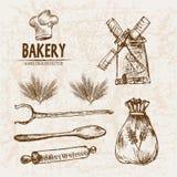 De digitale vector gedetailleerde bakkerij van de lijnkunst royalty-vrije illustratie