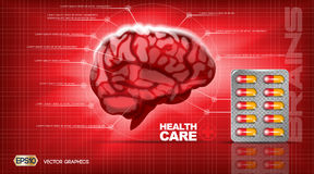 De digitale vector rode structuur van geneeskundehersenen vector illustratie