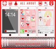 De digitale vectorillustratie van de liefde gelukkige valentijnskaart royalty-vrije illustratie