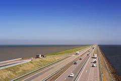 De dijk van ` Afsluitdijk ` in Nederland royalty-vrije stock afbeelding