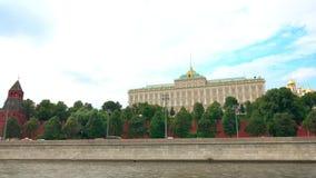 De dijk van Moskou het Kremlin stock video