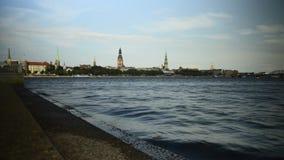 De dijk van Riga stock videobeelden