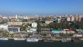 De dijk van rostov-op-trekt aan Panorama Rusland stock videobeelden