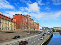 De dijk van Stockholm De baai van het overzees Royalty-vrije Stock Foto
