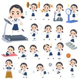 De Dikke wenkbrauwen van het zeemanskostuum girl_Sports & oefening vector illustratie