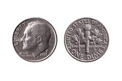 De dimemuntstuk 10 centenobvers Franklin D Roosevelt van de V.S. stock foto
