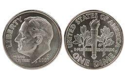 De dimemuntstuk van Roosevelt van Franklin Stock Afbeelding