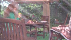 De dinerlijst met kaarsen, vrouw drinkt thee verdere brandwondgrill Royalty-vrije Stock Afbeelding
