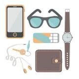 De dingen een mens draagt met hem: een horloge, een telefoon, hoofdtelefoons, sleutels, portefeuille, kauwgom, zonnebril, hoofdte vector illustratie