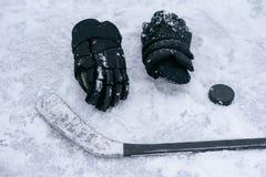 De dingen zijn een hockeyspeler op het ijs Stock Fotografie