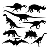 De dinosaurus silhouetteert uitgestorven species isoleerde oude dieren vector illustratie