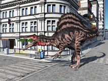 De Dinosaurus Spinosaurus in de Stad Stock Fotografie